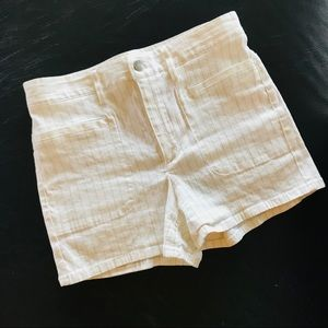 Theory White Pinstripe High Waisted Shorts Size 26